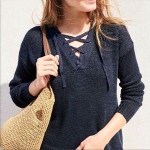 J. Crew Linen Lace-Up Beach Sweater Black